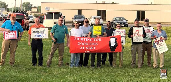 Members of CWA Local 4320 in Columbus, Ohio, (top) and CWA Local 4621 in Appleton, Wisc., (bottom) are showing AT&T that members are ready to do whatever it takes for a fair contract.