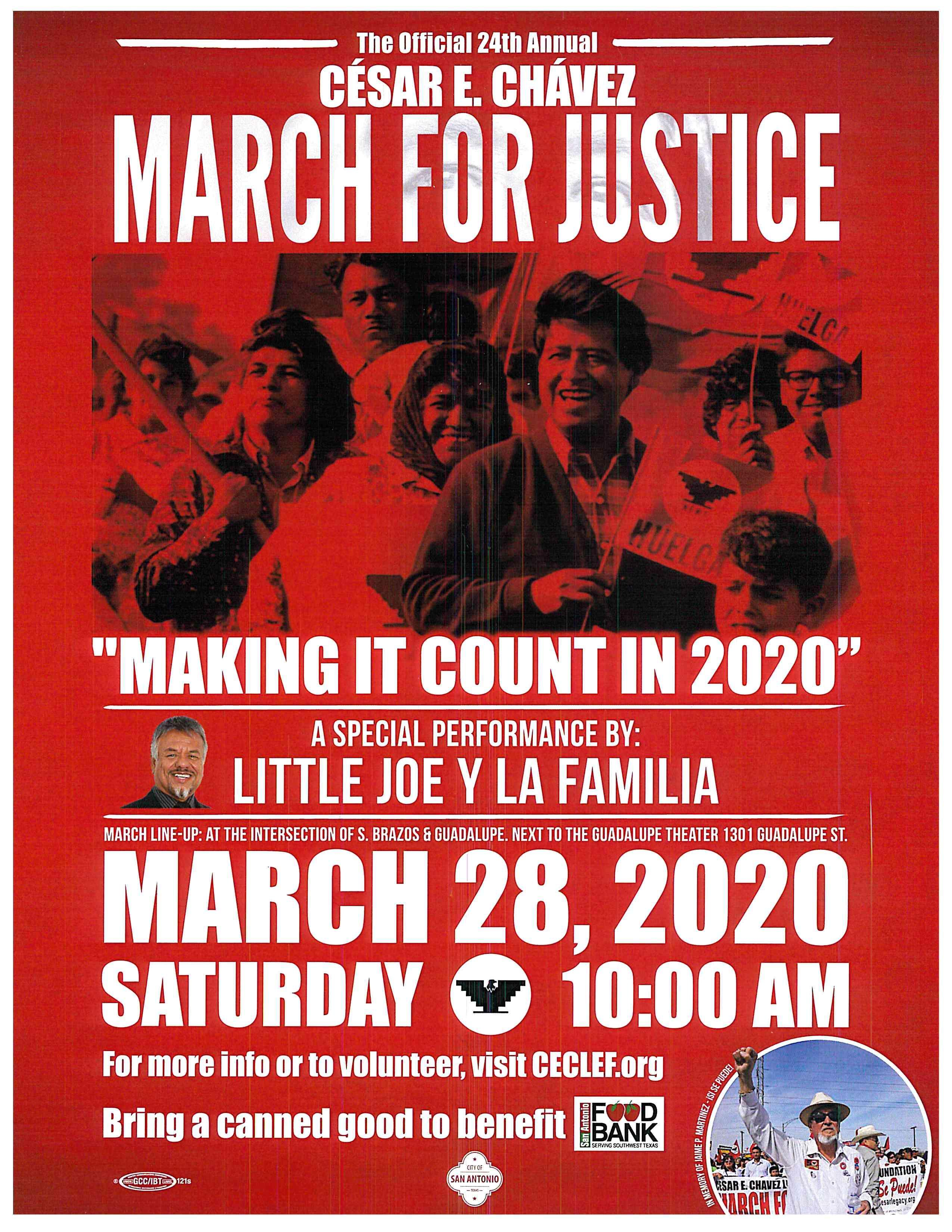 Flyer Information for Cesar E Chavez March