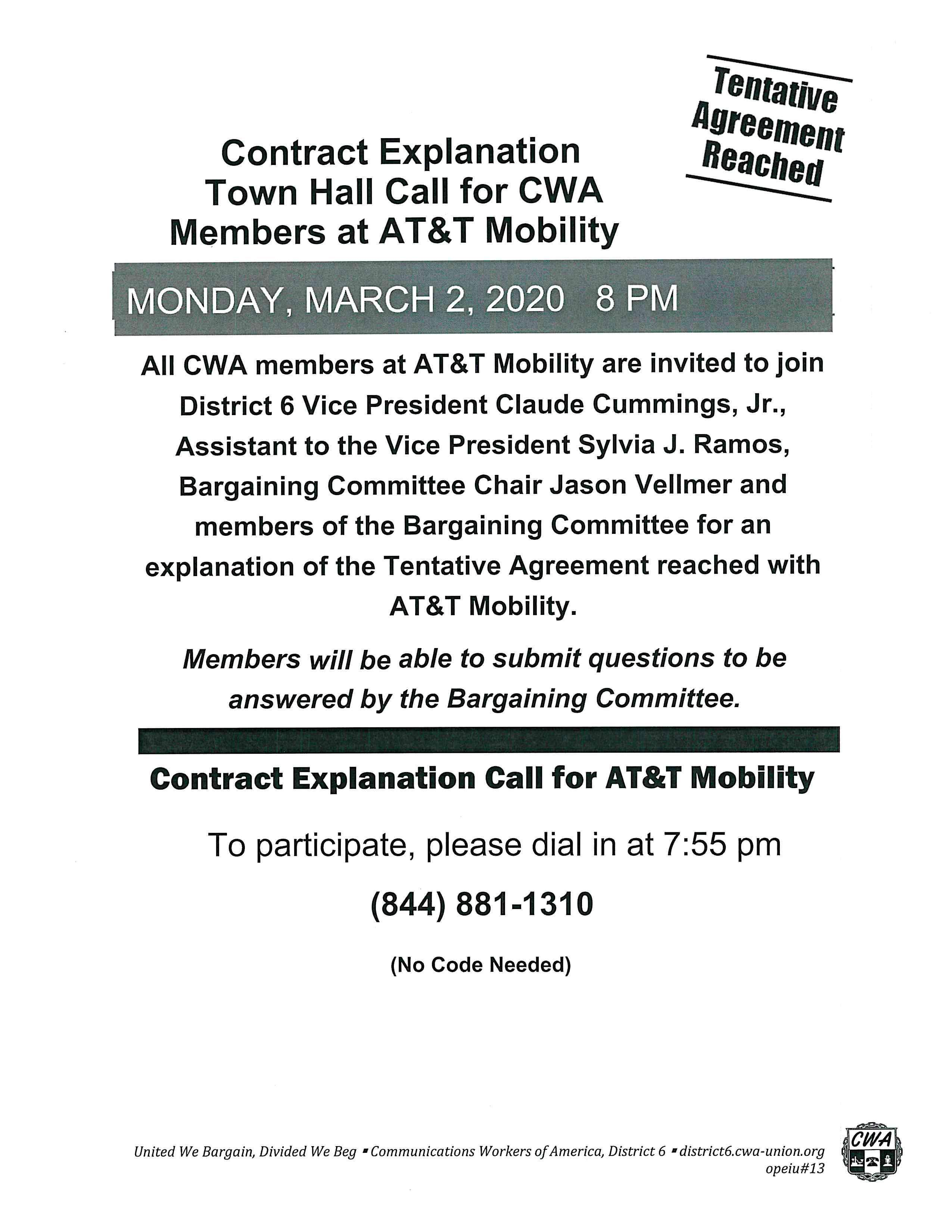 Information for the Mobility Contract Explanation Town Hall Call
